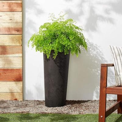 Contempo Tall Round 13 in. x 28 in. Dark Charcoal Marble PSW Planter