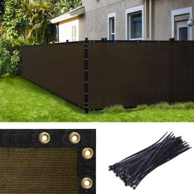 3 ft. H x 10 ft. W Brown Fence Outdoor Privacy Screen with Black Edge Bindings and Grommets