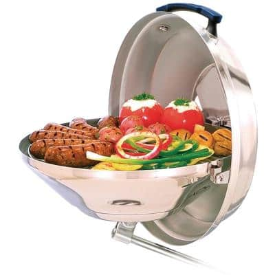 Marine Kettle 17 in. Portable Charcoal Grill with Hinged Lid in Stainless Steel