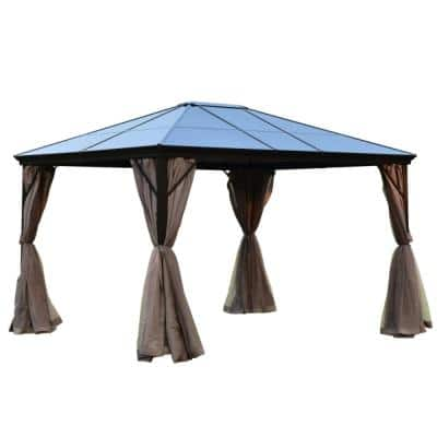 10 ft. x 12 ft. Aluminum Hardtop Gazebo with Removable Mesh Walls in Brown