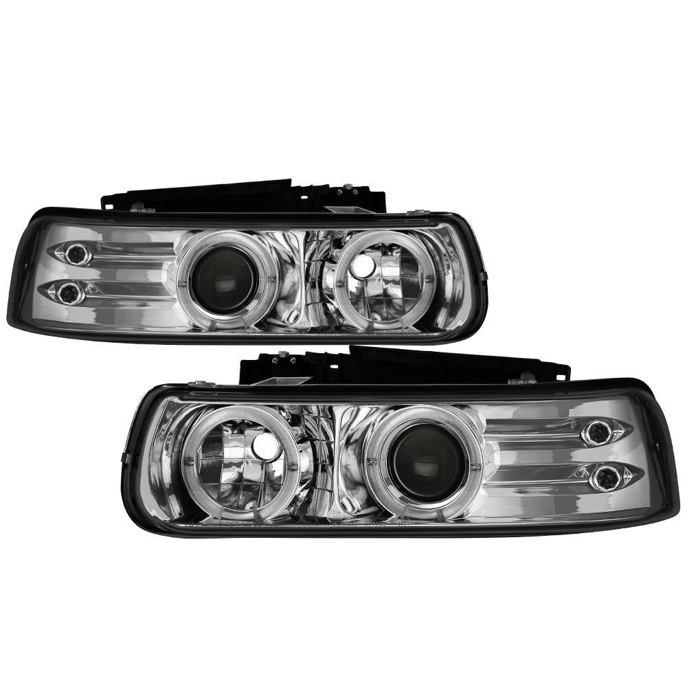 Chevy Silverado 1500/2500 99-02 / Chevy Silverado 3500 01-02 Projector Headlights - LED Halo- Chrome