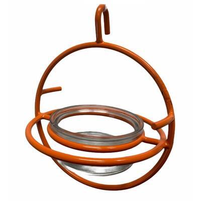 Iron Oriole Orange Bird Feeder with Clear Glass Bowl