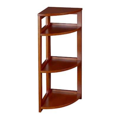 34 in. Cherry Wood 3-shelf Foldable Corner Bookcase