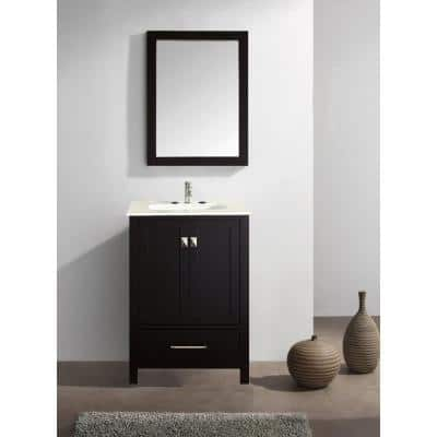Aberdeen 23.5 in. W x 22 in. D x 35 in. H Vanity in Espresso with Carrara Marble Vanity Top in White with White Basin