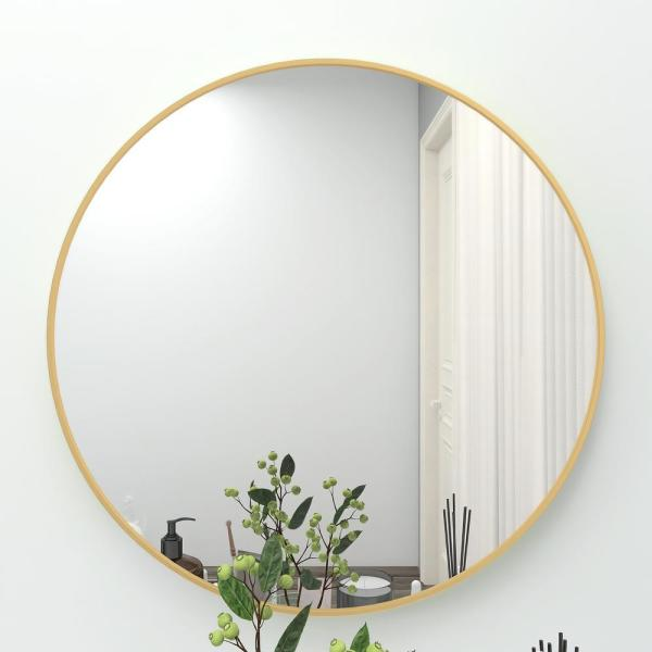 Pexfix 24 In X Inwall Mirror Large, X Large Round Gold Mirror