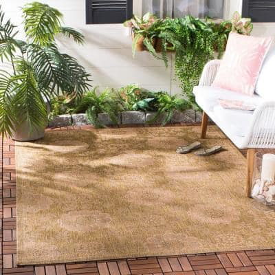 Courtyard Gold/Natural 9 ft. x 12 ft. Border Indoor/Outdoor Area Rug