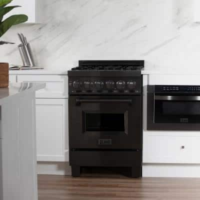24 in. 2.8 cu. ft. Dual Fuel Range with Gas Stove and Electric Oven in Black Stainless Steel