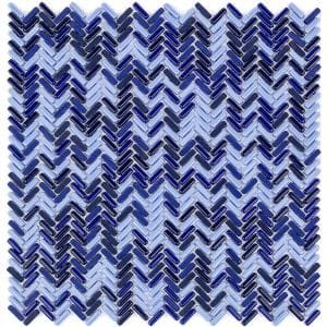 Recoup Herringbone Royale 12 in. x 12 in. x 6 mm Glass Mosaic Floor and Wall Tile