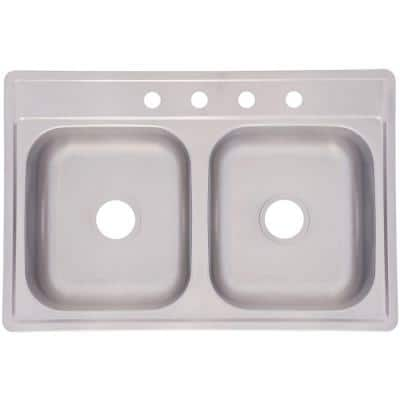 Drop-In Stainless Steel 33x22x6.5 4-Hole Double Basin Kitchen Sink