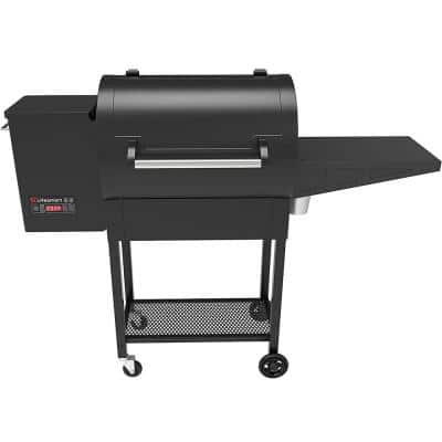 Pellet Grill and Smoker with Meat Probe Precision Digital Control and Dual Rack 510 sq. in. Cooking Surface in Black