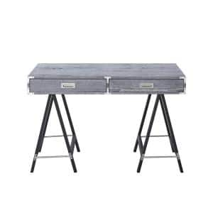 23.5 in. Rectangular Grey 2 Drawer Executive Desks with A-shaped Legs