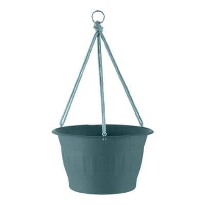 Colonnade 12 in.  Forest Green Wood Resin Hanging Basket Planter
