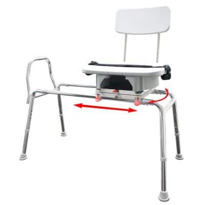 Swivel Sliding Bath Transfer Bench with Cut-Out Seat - Regular (Base Length: 39 in. to 40 in.) 400 lb. Capacity