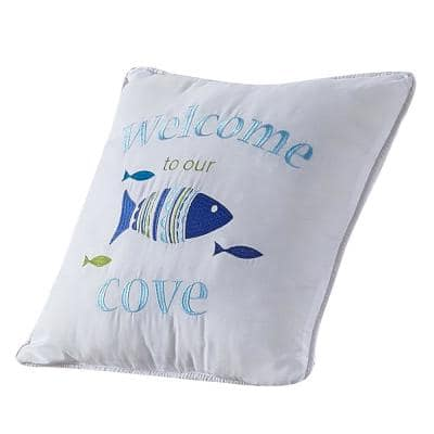 """Welcome to Our Cove"" Coastal Microfiber 16 in. W x 16 in. L Decorative Throw Pillow"