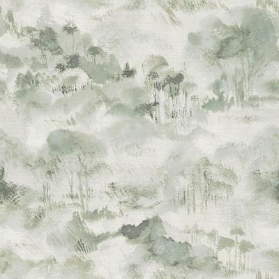 Nara Sage Toile Wallpaper Sample