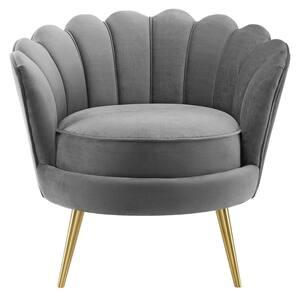 Admire Gray Scalloped Edge Performance Velvet Accent Armchair