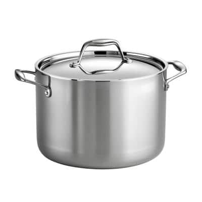 Gourmet Tri-Ply Clad 8 qt. Stainless Steel Stock Pot with Lid
