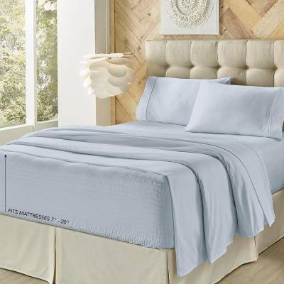 Royal Fit Light Blue Polyester Twin 3-Piece Sheet Set