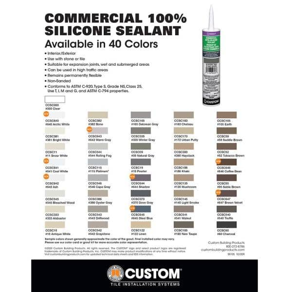 Custom Building Products Commercial 165 Delorean Gray 10 1 Oz Silicone Caulk Ccsc165 The Home Depot