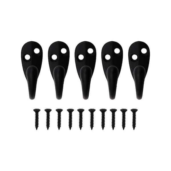 Everbilt Matte Black Light Duty Single Robe Hook 5 Pack 20786 The Home Depot