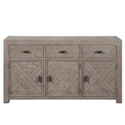 34 in. L x 61 in. W x 18 in. H Auckland 3-Drawer Weathered Gray Server