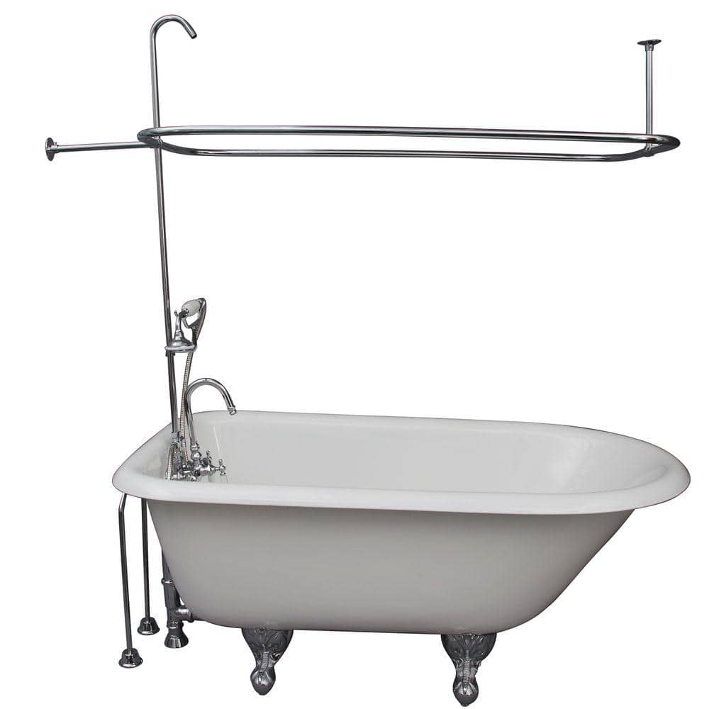 Barclay Products 4 5 Ft Cast Iron Ball And Claw Feet Roll Top Tub In White With Polished Chrome Accessories Tkctrh54 Cp2 The Home Depot