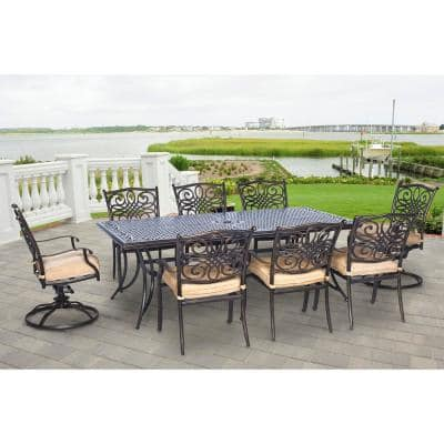 Seasons 9-Piece Aluminum Outdoor Dining Set with Tan Cushions with Dining Chairs, Swivel Rockers and Dining Table