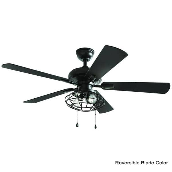 Home Decorators Collection Ellard 52 In Led Indoor Matte Black Ceiling Fan With Light Yg629a Mbk The Home Depot