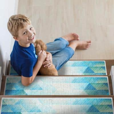 Sea Sea Blue 9 in. x 28 in. Cotton Carpet Stair Tread Cover (Set of 13)