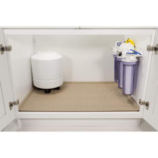Xtreme Mats 28 In X 22 In Beige Kitchen Depth Under Sink Cabinet Mat Drip Tray Shelf Liner Cm 30 Beige The Home Depot