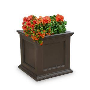 Self-Watering Fairfield 20 in. x 20 in. Espresso Polyethylene Patio Planter