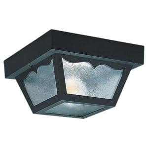 Outdoor Ceiling 1-Light 8.25 in. W Black Plastic Square Flush Mount Ceiling Fixture with Clear Textured Glass Shade
