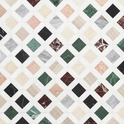 Lula Multicolor 11.92 in. x 11.92 in. Polished Marble Floor and Wall Tile (0.98 sq. ft./Each)