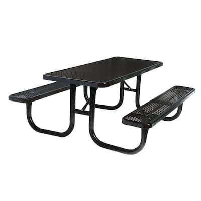 6 ft. Diamond Black Commercial Park Rectangular Portable Table