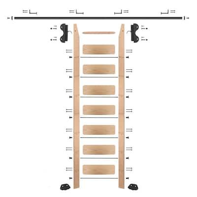 8 ft. Red Oak Library Ladder (9 ft. Reach) Black Hook Hardware 8 ft. Rail and Horizontal Brackets