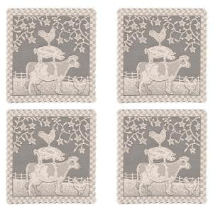 Farmhouse 14 in. Natural Transitional Polyester Doilies (Set of 4)