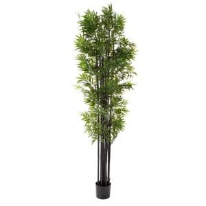 6 ft. Artificial Bamboo Tree - Potted Faux Floor Plant with Black Trunk and Natural Looking Greenery