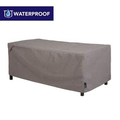 Garrison Waterproof Outdoor Patio Coffee Table/Ottoman Cover, 48 in. W x 25 in. D x 19 in. H, Heather Gray