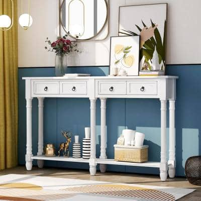 58 in. L White Console Table with Storage Drawers Shelf