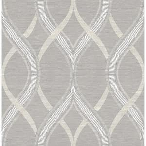 Frequency Grey Ogee Grey Wallpaper Sample
