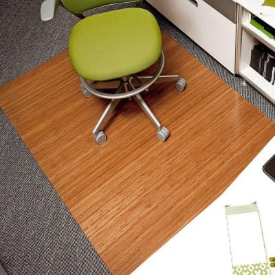 Deluxe Natural Light Brown 48 in. x 72 in. Bamboo Roll-Up Office Chair Mat without Lip