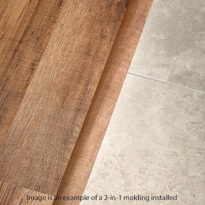 Kinglet Oak 0.37 in. T x 1.75 in. W x 78.7 in. L Vinyl 2-in-1 Molding