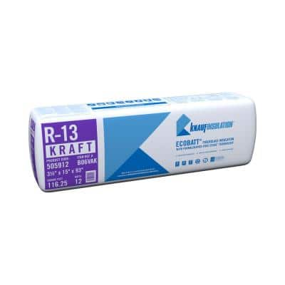 R-13 EcoBatt Kraft Faced Fiberglass Insulation Batt 3-1/2 in. x 15 in. x 93 in.