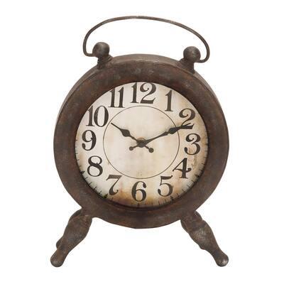 Dark Brown Metal Vintage Analog Tabletop Clock