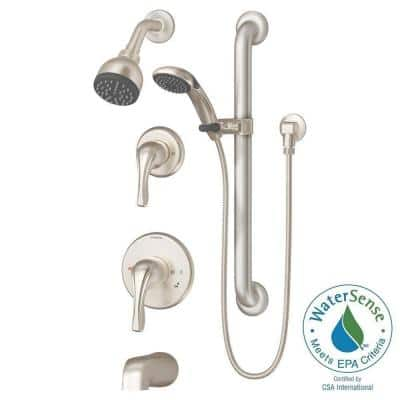 Origins Temptrol 1-Spray Dual Showerhead and Handheld Showerhead with Stops in Satin Nickel (Valve Included)