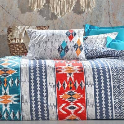 Red Cactus Duvet Cover Set, Queen Size Duvet Cover, 1 Duvet Cover, 1 Fitted Sheet and 2 Pillowcases, Iron Safe