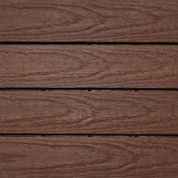 NewTechWood UltraShield Naturale 1 ft. x 1 ft. Quick Deck Outdoor Composite Deck Tile in California Redwood (10 sq. ft. per box) | The Home Depot