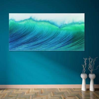 """""""Blue Wave"""" Frameless Free Floating Tempered Art Glass by EAD Art Coop Wall Art"""
