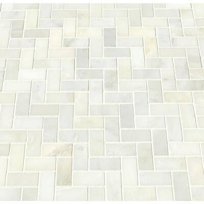 Greecian White Herringbone 12 in. x 12 in. x 10 mm Polished Marble Mesh-Mounted Mosaic Tile (1 sq. ft.)