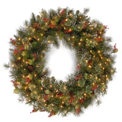 30 in. Wintry Pine Artificial Wreath with Clear Lights